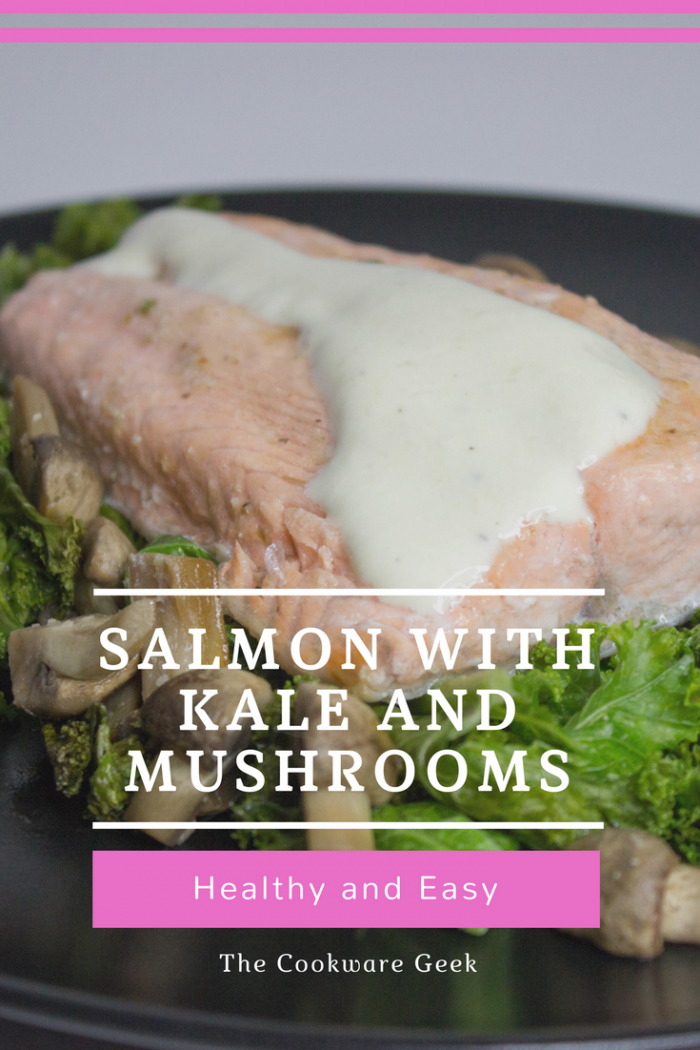 Salmon with kale and mushrooms