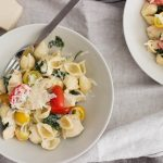 Alfredo chicken pasta with cherry tomatoes