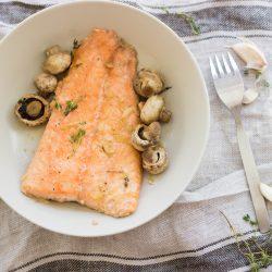Honey and Garlic Glazed Salmon with Mushrooms